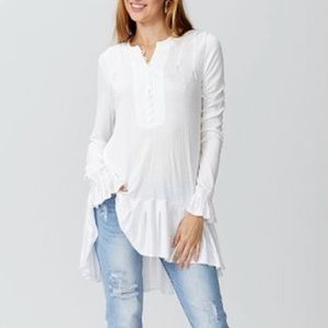 Free People Your Girl Button-Front Tunic Ivory NWT